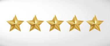 Star rating realistic gold star set vector. Art vector illustration