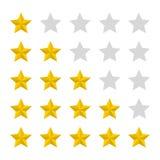 Star rating realistic gold star set vector. Art royalty free illustration