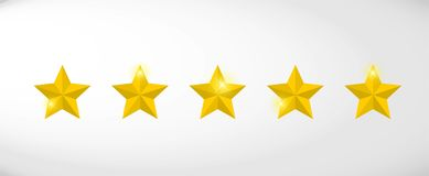 Star rating realistic gold star set vector. Art royalty free illustration