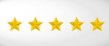 Star rating realistic gold star set vector. Art stock illustration