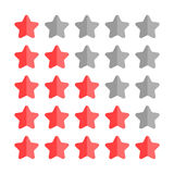 5 star rating set. Simple rounded shapes in grey and red Royalty Free Stock Photo
