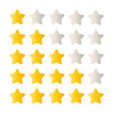 5 star rating set. Simple rounded shapes in grey and yellow Stock Image