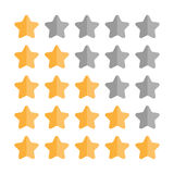 5 star rating set. Simple rounded shapes in grey and yellow Royalty Free Stock Photo