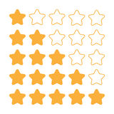 5 star rating set. Simple rounded shapes in grey and yellow.  Royalty Free Illustration