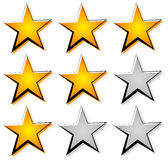 Star rating with 3 stars. Icon set for guality, rating, value co Stock Image