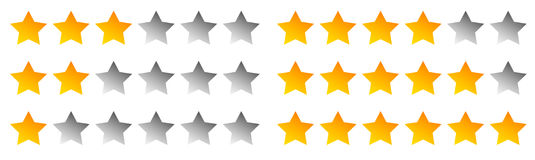 Star rating symbols with 6 star. Quality, feedback, experience, Stock Photography