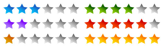 Star rating symbols with 6 star. Quality, feedback, experience, Stock Photos