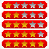Star rating symbols with 6 star. Quality, feedback, experience, Stock Photo