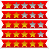 Star rating symbols with 6 star. Quality, feedback, experience, Royalty Free Stock Photo