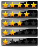 Star Rating System on Glossy, Black Panels Stock Images