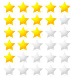 5 Star Rating System. Star rating vector with bright star shapes Stock Photography