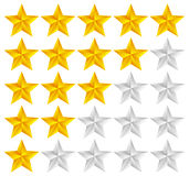 Star Rating Template Vector with 3d stars Royalty Free Stock Photography