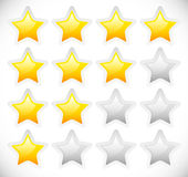 Star Rating Template Vector with rounded, Bright Stars Stock Images