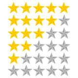 5 star rating. Vector illustration eps10. Isolated badge for web. Site or app - stock infographics Royalty Free Stock Photography