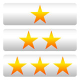 Star rating w/ 3 stars - Star rating panels Royalty Free Stock Images