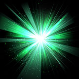 Star with rays white green in space  and effect tunnel s. Piral galaxies, nebulae, cosmos on black background Royalty Free Stock Images