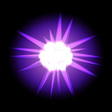 Star with rays white purple in space cosmos  on black ba Royalty Free Stock Photo