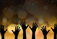 Star reach. Abstract illustration of hands reaching for the stars Royalty Free Stock Photo