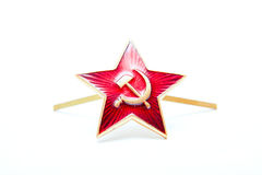 Star Red Army, the Soviet ,  kakarda  troops, isolated on a white background. Royalty Free Stock Photo