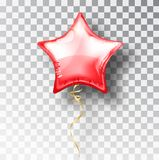 Star red balloon on transparent background. Party helium balloons event design decoration. Balloons air. Mockup. For balloon print. Stocking Christmas stock illustration