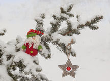 Star with red bells and gnome  on snow-covered tree branch mass Stock Images