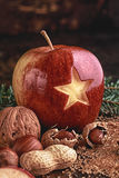 Star on Red Christmas Apple Stock Photo