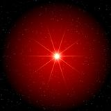 Star in red cloud - star background. A star shining in a red cloud on a star background Royalty Free Stock Photos
