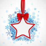 Star Red Ribbon Blue Snowflakes White. Red star with ribbon and blue snowflakes on the white background Stock Image