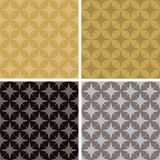 Star repeat multi. Illustrated seventies style wallpaper with a seamless repeat design in four metalic color variations Stock Photos