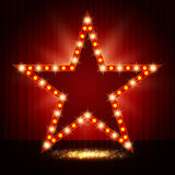 Star retro light banner on curtain background Royalty Free Stock Image
