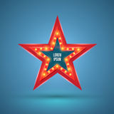 Star retro light banner with light bulbs on the contour. Stock Image