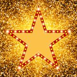 Star retro light banner on shining background Royalty Free Stock Image