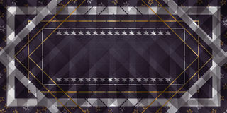 Star ribbon celebrate banner. Illustration graphic star ribbon frame banner gold silver purple color background template Stock Photos