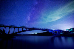 Star river with bridge background royalty free stock images