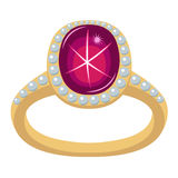Star ruby golden ring Stock Photography