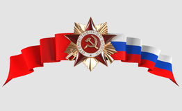 Star on the russian flags Stock Photos