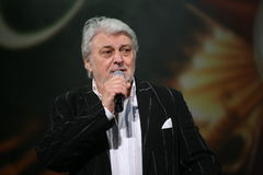 Star of Russian and Soviet music, popular music idol, honored man, millionaire, author, singer, composer Vyacheslav Dobrynin. A charity concert for the disabled stock photos