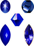 Star Sapphire, bead and gem vector illustrations. Royalty Free Stock Photo