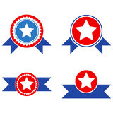 Star Seal With Ribbons Flat Icons Royalty Free Stock Photo