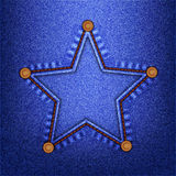 Jeans star. Star in a seam with buttons on denim. Vector illustration Royalty Free Stock Image