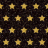 Star seamless pattern background. Golden sparkle glitter texture Royalty Free Stock Images