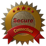 5 Star Secure connection. A 3D golden and red metallic seal with text Private and Connection with 5 stars indicating the quality Stock Images
