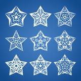 Star set. Vector set of nine white stars on blue background Royalty Free Stock Images