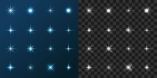 16 Star Set on Blue and Gray Background. 16 Star vector set on blue and gray background. Design elements, art objects for graphic and web design royalty free illustration