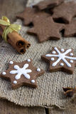 Star shape Christmas chocolate gingerbread Cookies Royalty Free Stock Image