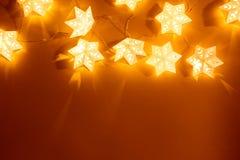 Star shape christmas lights. Background stock images