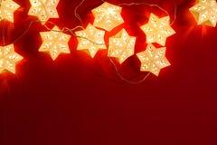 Star shape christmas lights. Background stock photos