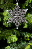 Star shape Christmas ornament in silver Royalty Free Stock Photos