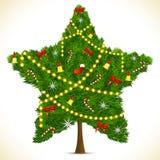 Star shape Christmas Tree vector illustration
