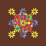 Star shape colorful geometric stained glass ornament, vector Royalty Free Stock Photo